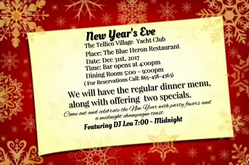 New Years Eve Menu Annoucement