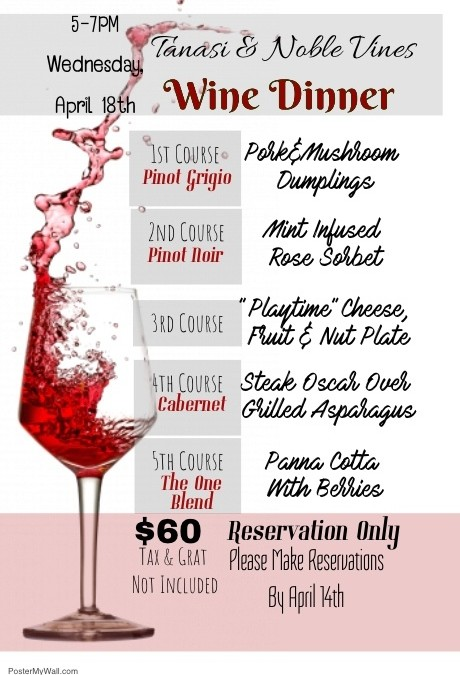 Tanasi & Noble Vines Wine Dinner