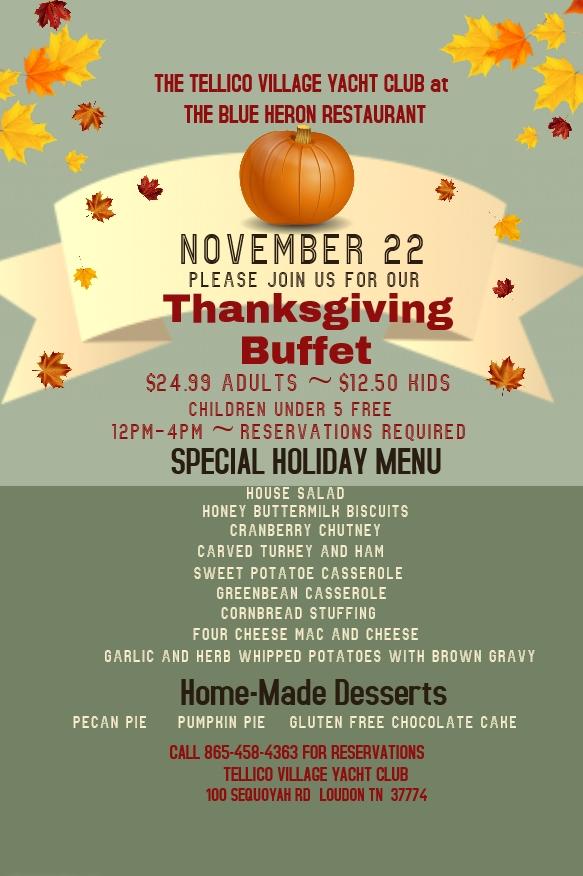 2018 Thanksgiving Menu